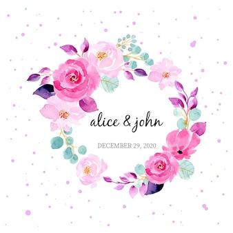 Jolie couronne d'aquarelle florale pour le modèle d'invitation de carte de mariage