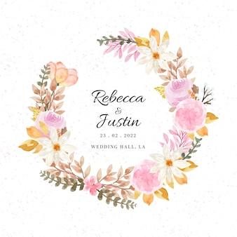 Jolie couronne florale avec des fleurs d'automne à l'aquarelle