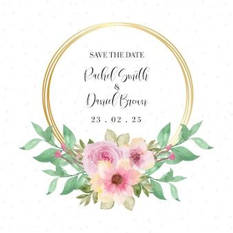 Jolie couronne florale rose avec placez votre texte