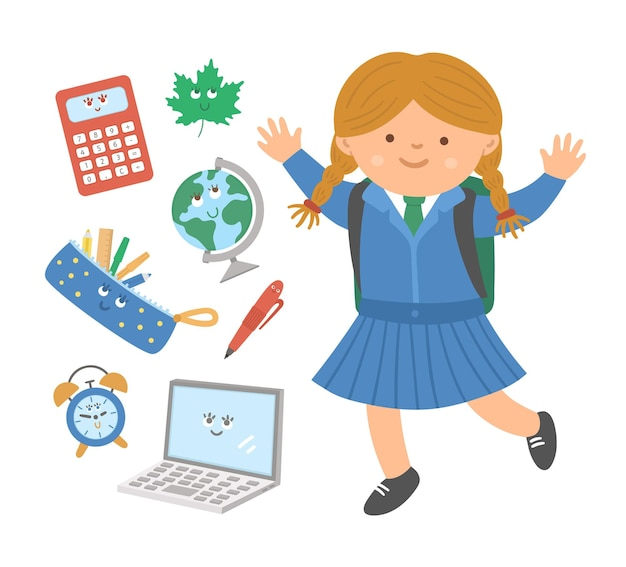 Jolie écolière sautant heureuse avec des objets de classe kawaii de style plat. retour au vecteur de l'école