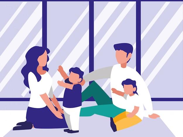 Jolie famille dans le personnage d'avatar de la maison