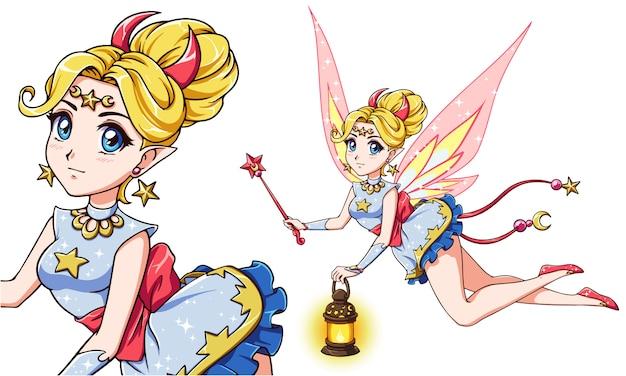 Jolie fée anime tenant une lanterne et une baguette magique. cheveux blonds et robe colorée. illustration dessinée à la main.