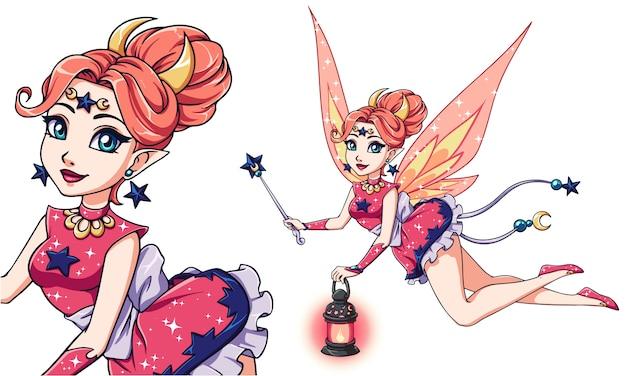Jolie fée de dessin animé tenant la lanterne et la baguette magique.