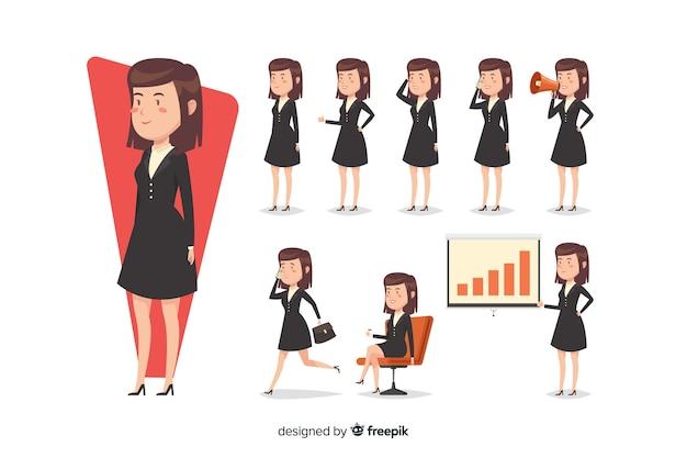 Jolie femme d'affaires faisant différentes actions