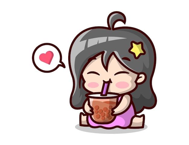 Jolie femme enceinte boit une tasse de boba illustration de dessin animé de haute qualité