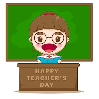 Jolie femme enseignante assise dans une salle de classe devant un dessin animé au tableau