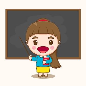Jolie femme enseignante tenant un livre en classe pointant vers une caricature de tableau