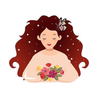 Jolie femme girly avec de beaux cheveux tenant un bouquet de fleur design vectoriel plat