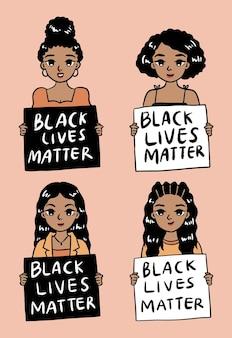 Jolie femme noire soutient le personnage de la vie noire compte dessiné à la main