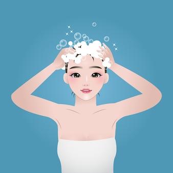 Jolie femme se lavant les cheveux illustration