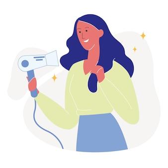 Jolie femme, séchage, cheveux, plat, illustration