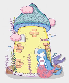 Jolie femme sirène et château avec nuages et plantes