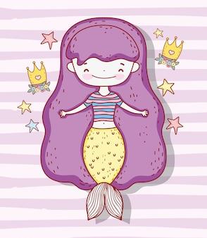 Jolie femme sirène avec couronne et étoiles