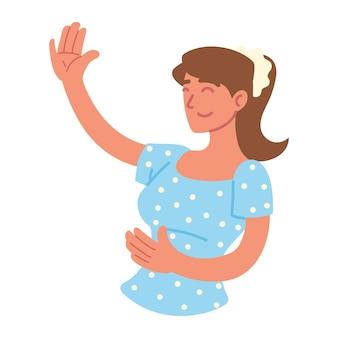Jolie femme souriante main levée