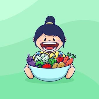 Jolie femme tenant un dessin animé de légumes