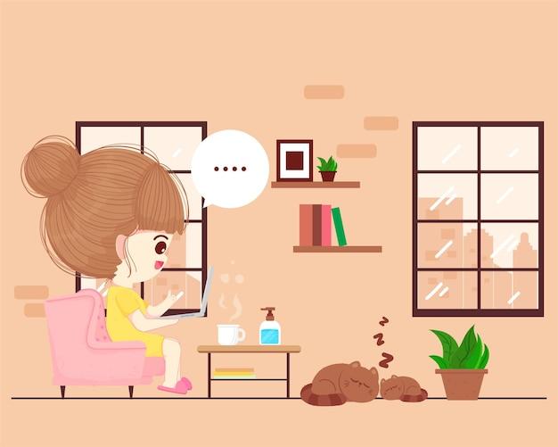 Jolie femme travaillant à partir de l'illustration de l'art de dessin animé de concept de maison