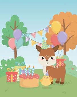 Jolie ferme d'animaux fauves en scène de fête d'anniversaire