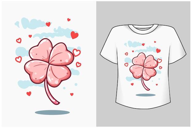 Jolie feuille rose avec illustration de dessin animé d'amour