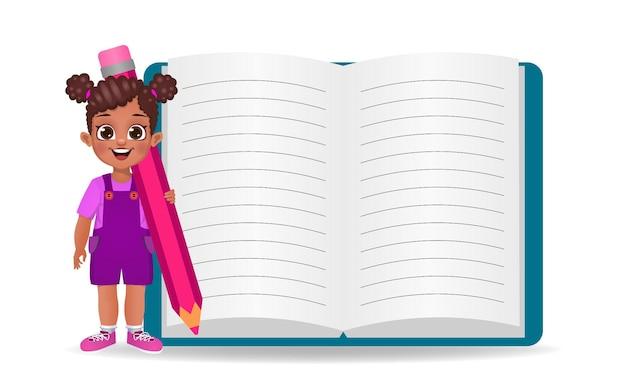 Jolie fille africaine montrant un grand livre vide