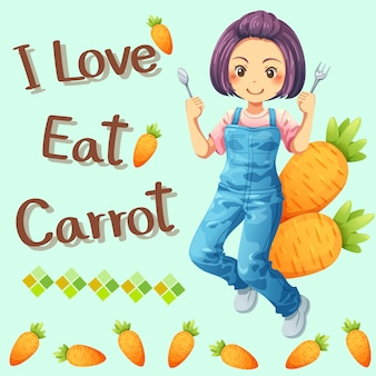Une jolie fille aime manger des carottes et des polices