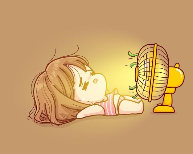 Jolie fille allongée devant un ventilateur très chaud en illustration de dessin animé d'été