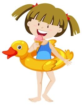 Jolie fille avec anneau de natation canard isolé