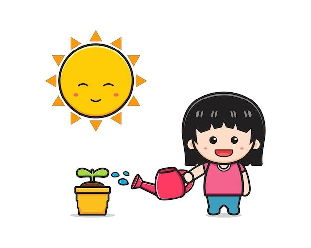 Jolie fille arrosage plante dessin animé icône illustration. concevoir un style de dessins animés plats isolés