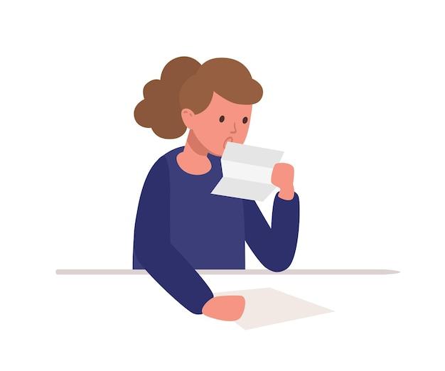 Jolie fille assise au bureau et lisant une lettre isolée sur fond blanc. une écolière étudie dur, se prépare au test ou à l'examen scolaire, fait ses devoirs. illustration vectorielle coloré de dessin animé plat.