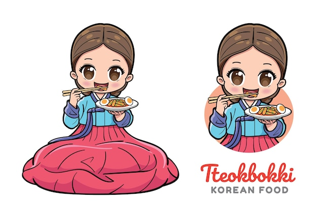 Jolie fille assise et mangeant du tteokbokki ou un gâteau de riz épicé coréen