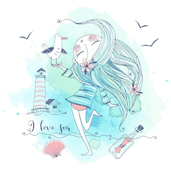 Jolie fille au bord de la mer avec un oiseau mouette. graphiques et aquarelles. vecteur.