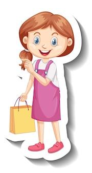 Jolie fille en autocollant de personnage de dessin animé robe rose