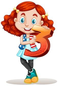 Jolie fille aux cheveux rouges tenant le numéro trois maths