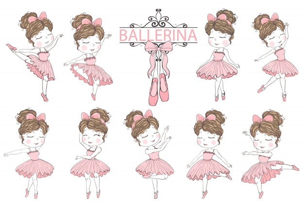 Jolie fille ballerine éléments de clip art illustration dessinés à la main