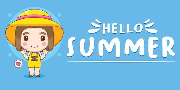 Jolie fille avec bannière de voeux d'été