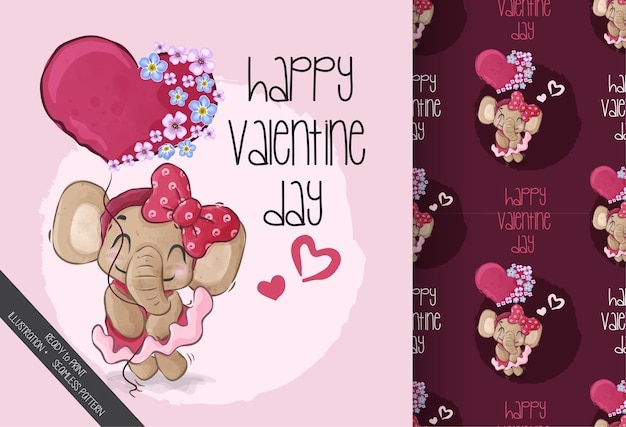 Jolie fille bébé éléphant joyeuse saint-valentin avec motif sans couture