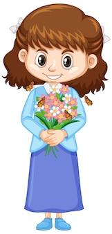 Jolie fille avec de belles fleurs sur blanc