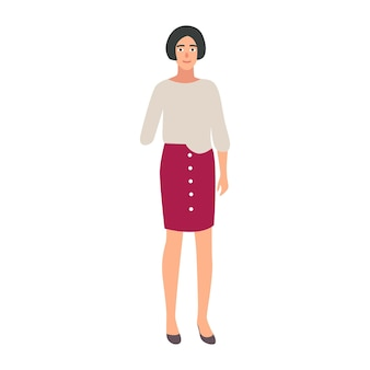 Jolie fille avec bras amputé isolé sur fond blanc. amputé souriant ou personne handicapée. personnage féminin heureux avec une déficience physique. illustration vectorielle colorée en style cartoon plat.