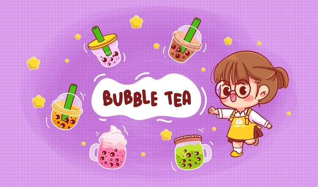 Jolie fille et bulle de thé au lait logo illustration d'art de dessin animé
