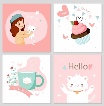 Jolie fille et chat chat et éléments de valentine cartoon