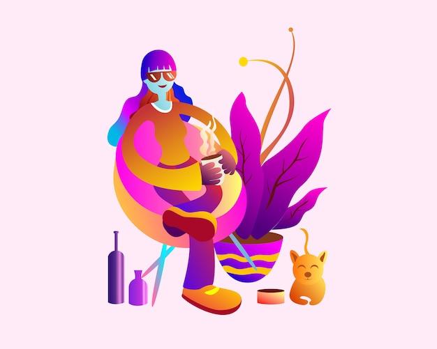 Jolie fille et chat avec illustration de plante