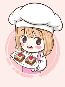 Jolie fille de chef boulangerie tenant un gâteau aux fraises - personnage de dessin animé et illustration du logo