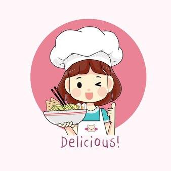 Jolie fille chef tenant un bol d'illustration de dessin animé de nouilles