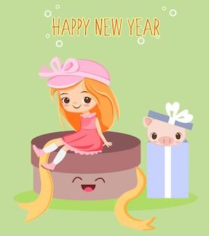 Jolie fille et cochon dans la boîte-cadeau pour carte de voeux de nouvel an