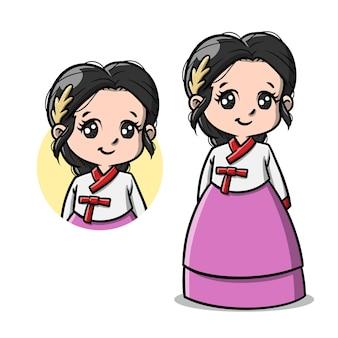 Jolie fille coréenne avec dessin animé hanbok