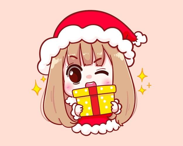 Jolie fille en costume de père noël tenant une illustration de joyeux noël de coffret cadeau
