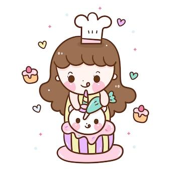 Jolie fille cuisinière temps de boulangerie