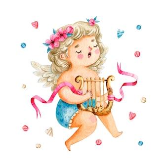 Jolie fille de cupidon aux cheveux blonds chantant et jouant de la harpe