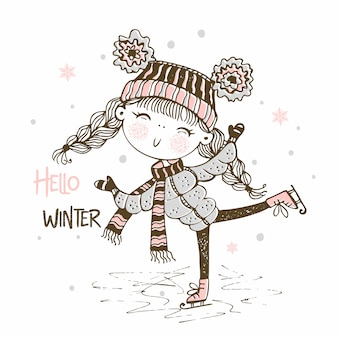 Jolie fille dans un chapeau tricoté en patinage
