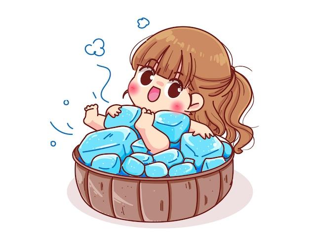 Jolie fille dans un seau à glace. illustration de dessin animé