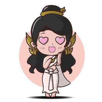 Jolie fille dans la tradition thaïlandaise costume cartoon in love.